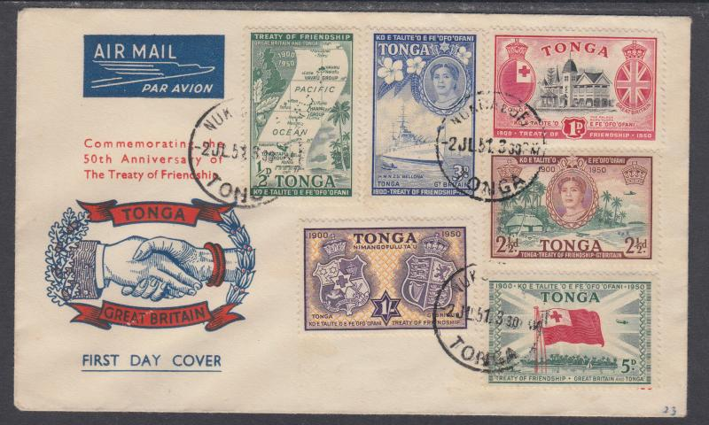 Tonga Sc 94-99 FDC. 1951 Pictorials complete, cacheted & unaddressed