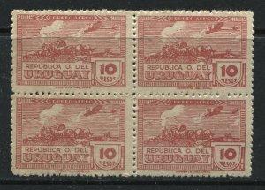 Uruguay 1939 10 pesos Airmail block of 4 unmounted mint NH