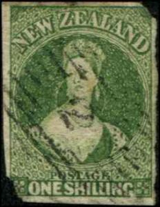New Zealand SC# 15 Victoria 1shilling  wmk 6 Imperf SCV $390.00 FAULTS