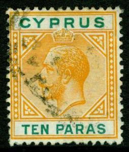 CYPRUS SG74, 10pa orange & green, FINE USED.