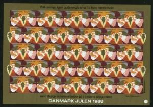 Denmark. Christmas Sheet Mnh. 1988. Imperforated.  Angels.