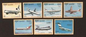 Cambodia 1991 #1152-8, Planes, MNH.