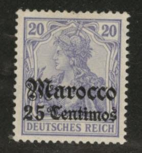 German office in Morocco Scott 36 MH* 1906 with small thin