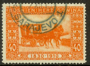 BOSNIA AND HERZEGOVINA 1910 40h Mail Wagon Franz Joseph Birthday Jubilee Sc 56