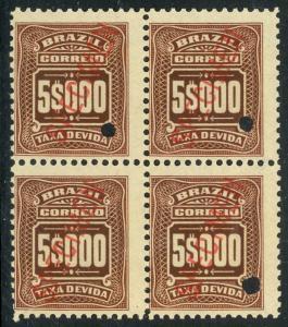 BRAZIL 1906-10 5000R Postage Due BLK4 Scott N. J40 Overprinted SPECIMEN MNH