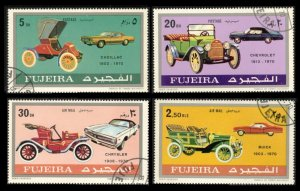 FUJEIRA 1971 #596 597 598 604 SET OF 4 USED TOPICAL STAMPS AUTOMOBILES