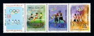 [92457] Morocco 2008 Olympic Games Beijing Boxing Athletics Strip of Four MNH