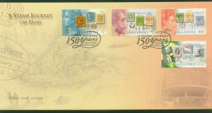 SINGAPORE 1115-1118 FIRST DAY COVER 150th ANNIV. OF STAMPS. VF (7)