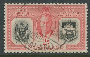Nyasaland - Scott 91 - General Issue. -1951 - FU - Single 2p Stamp