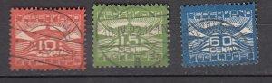J26386  jlstamps 1921  netherlands set used #c1-3 airmails