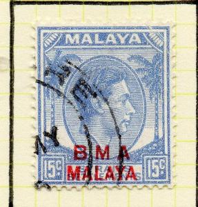 Malaya Straights Settlements 1945 Early Shade of Used 15c. BMA Optd 307998