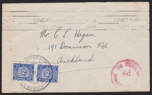 NEW ZEALAND 1946 cover ex ONEHUNGA with postage dues etc....................1851