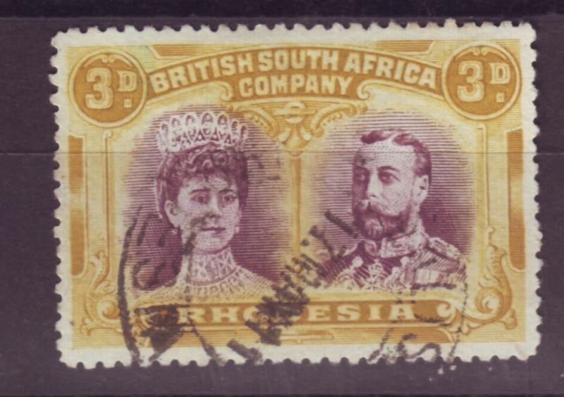 J17095 JLstamps 1910 rhodesia used #105 king and queen $52.00 scv