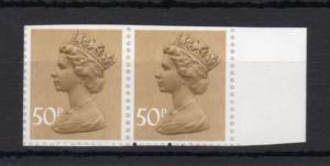 50p MACHIN UNMOUNTED MINT PAIR + PERFORATION VARIETY