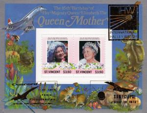 St.Vincent 1988 Q.Mother SS overprinted Gold HALLEY'S COMET-CONCORDE-GIOTTO MNH