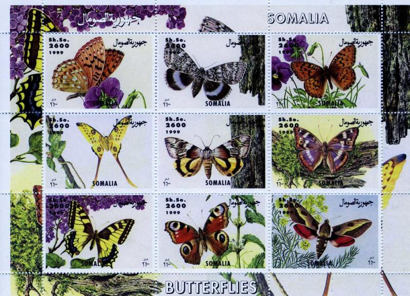 Somalia 1999 Butterflies Sheet (9) Perforated mnh.vf
