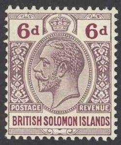 Solomon Islands Sc# 35 MH 1914-1923 6p KGV Inscribed Postage-Revenue