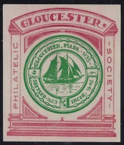 1935 Gloucester Philatelic Society Imperf Red/Green Cinderella / Poster Stamp