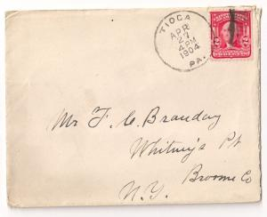 2c #319 w/ Tioga PA 1902 CDS on small cover