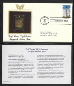 Just Fun Cover #4409 U/A GOLD REPLICA FDC Matagorda Is Lighthouse Tex (my5880)