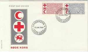Denmark 1966 Red Cross Copenhagen Cancels Humanitarian Stamps FDC Cover 29542