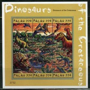 PALAU SCOTT #574/75 DINOSAURS  SET OF TWO SHEETS MINT NH