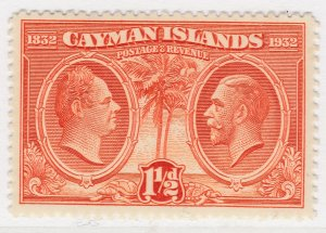 British Colony Cayman Islands 1932 1 1/2d MH* Stamp A22P19F8937