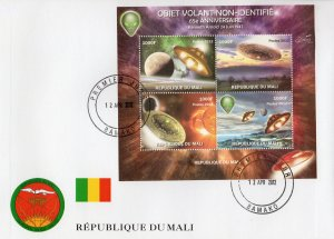Mali 2012 UFO 65th.anniv.Kenneth Arnold sighting Sheetlet (4) Perforated FDC