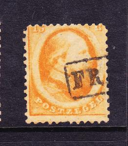 NETHERLANDS  1864 15c  KING WILLIAM III    FU    Sc 6