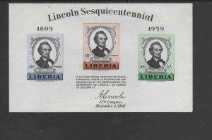 LIBERIA #386a  1959  ABRAHAM LINCOLN      MINT  VF NH  O.G  S/S