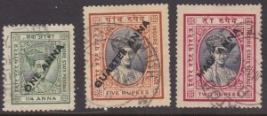 India: Indore #31-33 overprints complete used