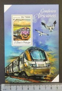 St Thomas 2013african trains railways transport birds shosholoza s/sheet mnh