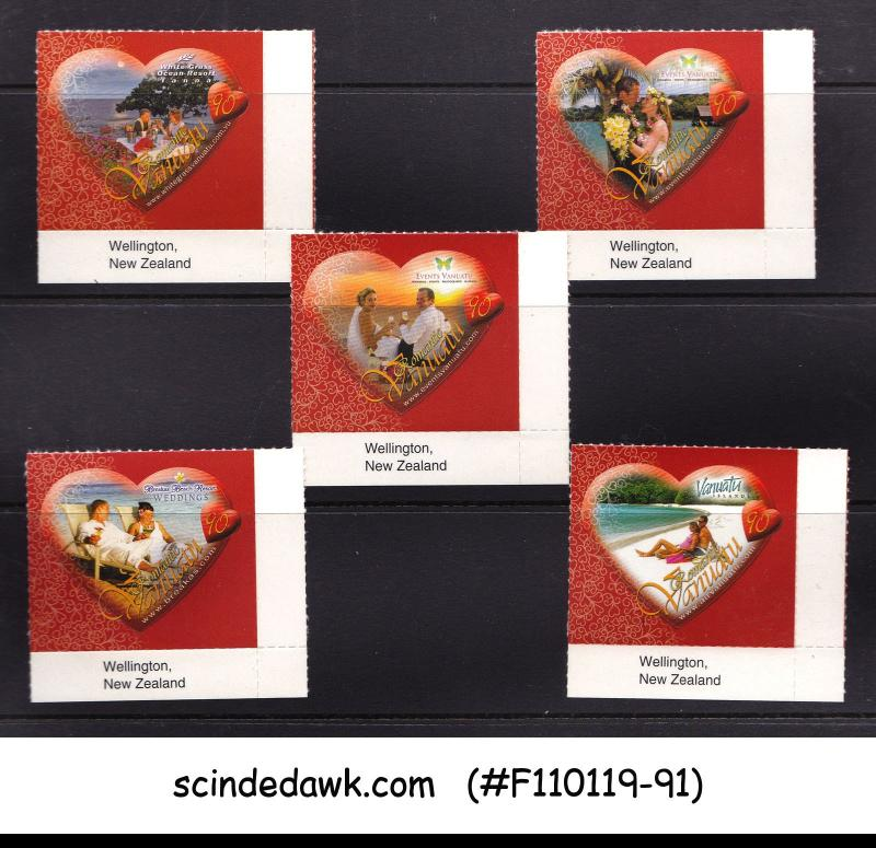 VANUATU - 2009 VALENTINE'S DAY / HEARTS - 5V MNH SELF ADHESIVE STAMPS
