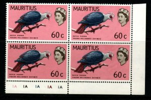 MAURITIUS SG374 1968 60c BIRDS CHANGED COLOUR MNH BLOCK OF 4