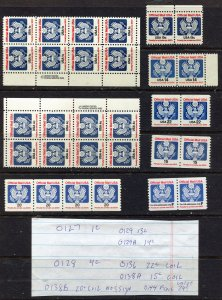 O127 // O144 MODERN OFFICIALS  BLOCKS/PAIRS ETC   30 Stamps