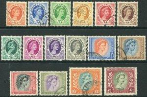 RHODESIA & NYASALAND-1954-56 Set to £1 Sg 1-15 FINE USED V48314