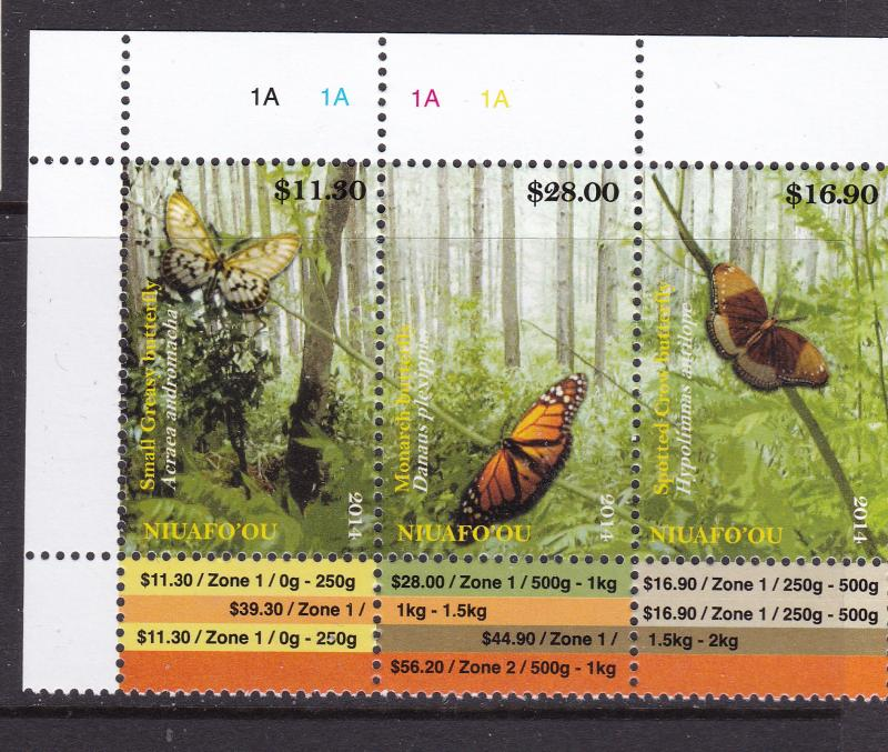 Niuafo'ou a 2014 Butterfly strip with plate No MNH