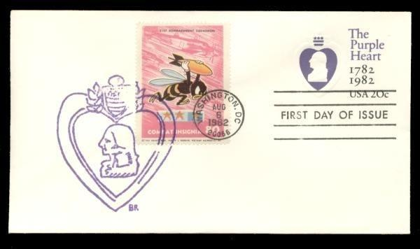 21st Bombardment Squadron Poster Stamp on Purple Heart #U603 FDC
