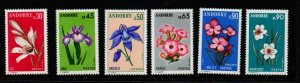 Andorra (Fr) Sc  222-27 1973-4 Flowers stamp set mint NH