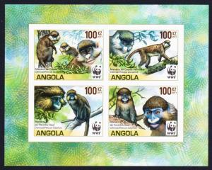 Angola WWF Monkeys Guenons 4v imperforated Block of 4