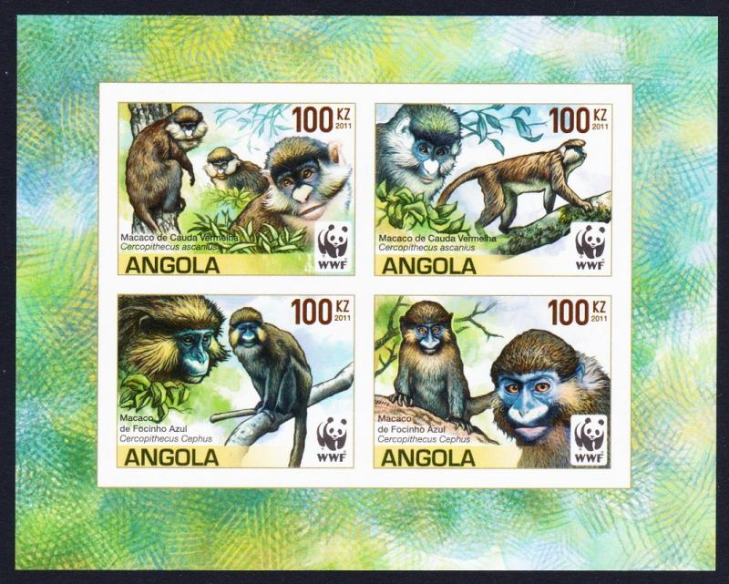 Angola WWF Monkeys Guenons 4v imperforated Block of 4