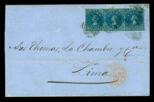 CHILE 1862 COLUMBUS - last London print - 10c blue Sc# 12 strip of 3 on cvr PERU