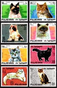 Fujeira Michel #206-213 set/8 mnh - 1967 Cats - Siamese Persian Maine Coon etc