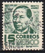 MEXICO 877(a), 15cents REDRAWN 1950 Definitive 2nd Printing wmk 300 USED. (140)