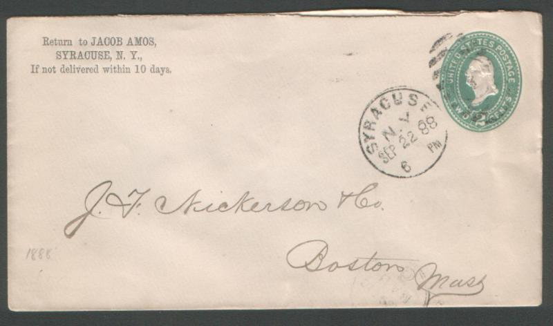 USA 1888 2c env canc Syracuse NY duplex with time & date