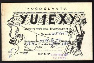 QSL QSO RADIO CARD YU1EXY,Student's Radio Club,Painter, Yugoslavia (Q2265)