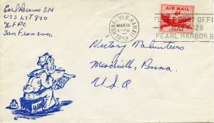 US Scott 807 w/Cartoon Cachet of Sailor Writing Home and Pearl Harbor FPO Cancel