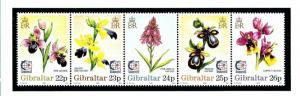 Gibraltar 685 MNH 1995 Orchids strip of 5