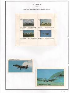 SCOTLAND - STAFFA - 1982 - Jet Aircraft #2 - Perf 4v, Souv, D/L Sheets -MLH
