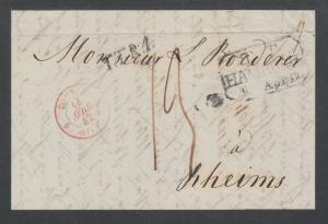 Russia, 1842 Stampless SFL MOSCOW-REIMS, via Hamburg by Forwarding Agent